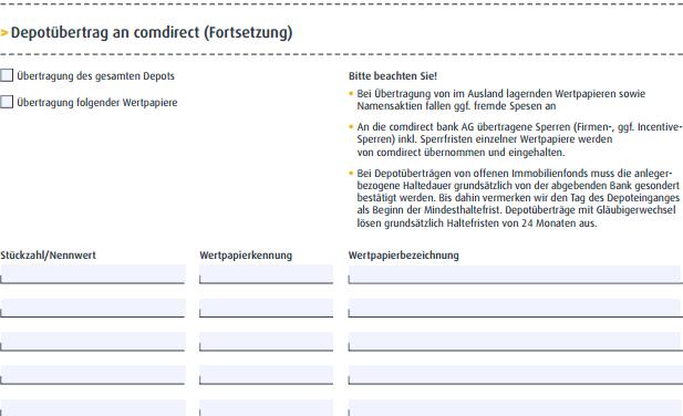 Depot übertragen comdirect-Depotübertragsformular