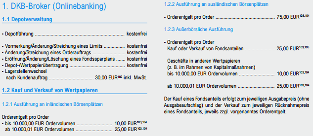 DKB-Order Gebühren-Preisverzeichnis