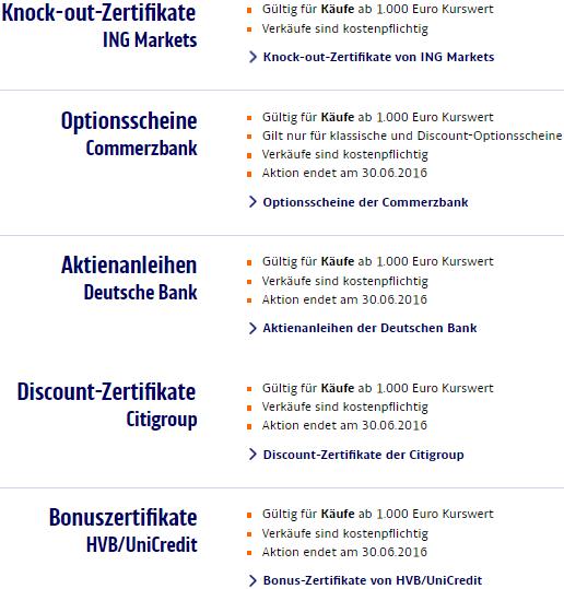 ING DiBa-OTC- Sonderpreisaktionen