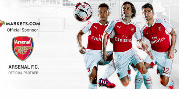 Arsenal London is official sponsored by Markets.com