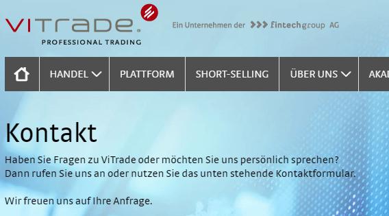 ViTrade-Kontakt-Hinweis