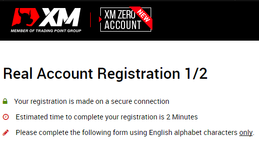XM.com-Kontoeröffnung-Formular