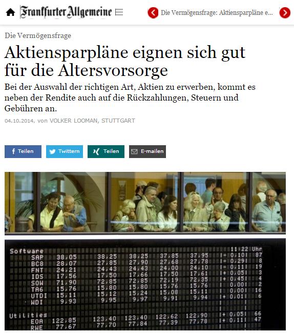 Screenshot FAZ: Aktiensparpläne eignen sich (nicht nur) für die Altersvorsorge