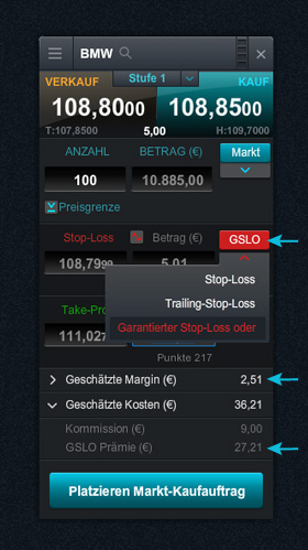 Screenshot: Garantierter Stop Loss bei CMC Markets