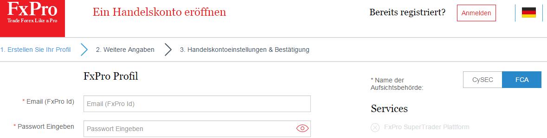 Screenshot: Je nach gewähltem Konto können sich die Konditionen und sogar die Regulierungsbehörde unterscheiden
