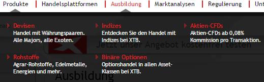 Screenshot: Das parallele Angebot von CFD und FX wird zur Regel (Quelle: XTB)