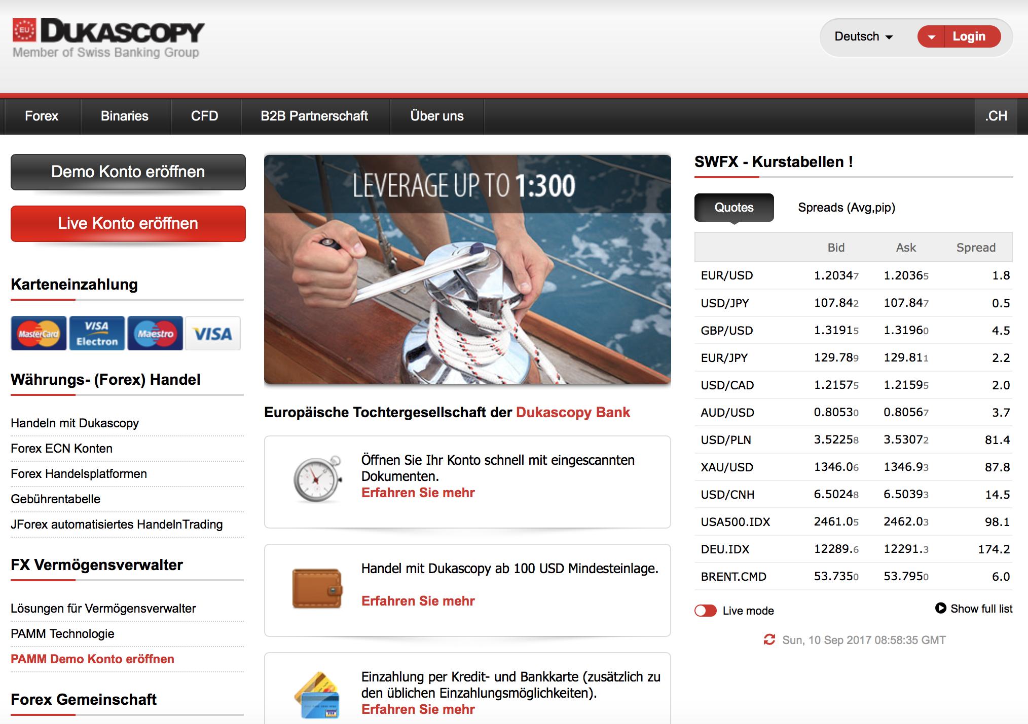 Schon auf der Startseite zeigt sich, wie vielfältig das Angebot bei Dukascopy ist.