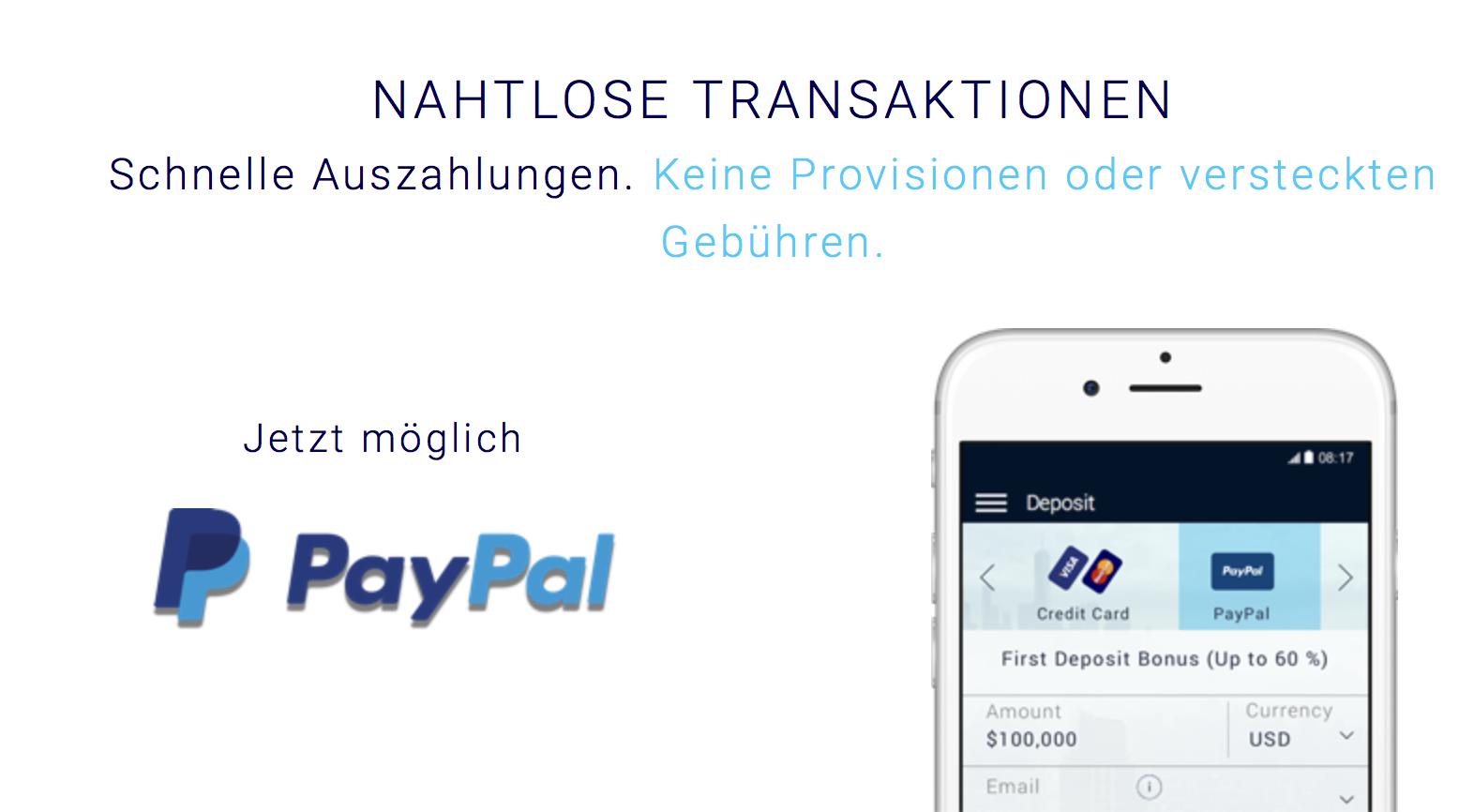 Bei Xtrade sind auch Transaktionen via PayPal möglich