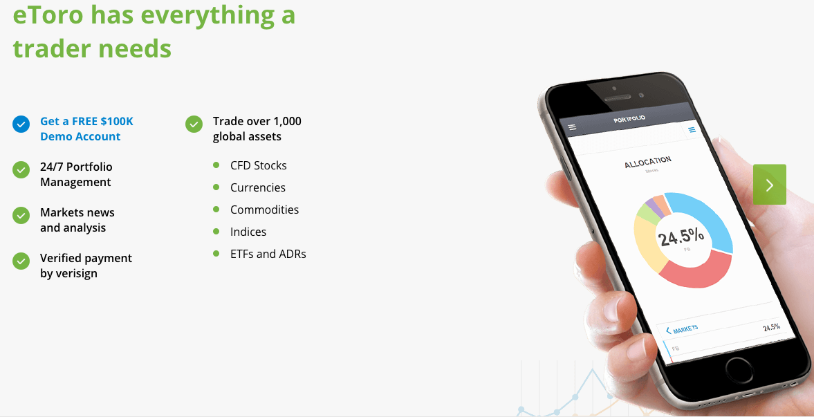 eToro provides a demo account for free