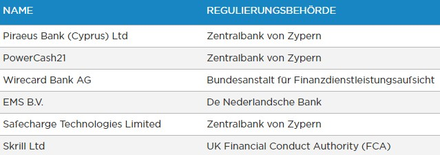 StockPair-Zahlungsanbieter-Tabelle
