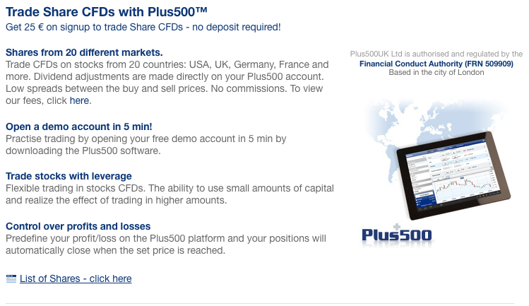 Clients can trade CFDs on Shares from 20 countries.