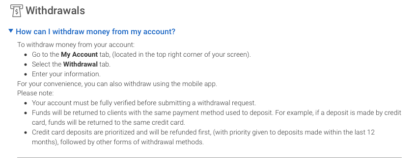 Markets.com may check the identity before processing the withdrawal request