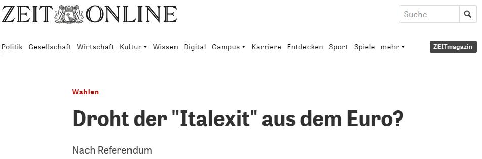 Italexit Headline Zeit