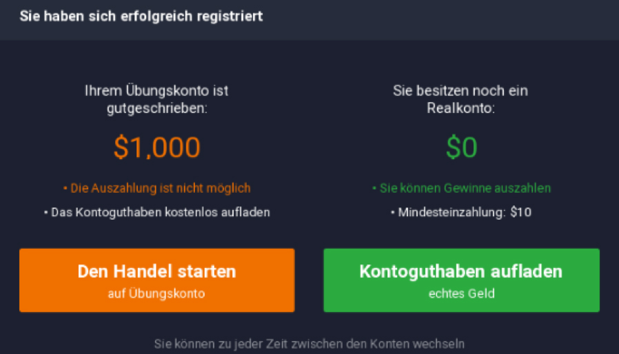 Binäre Optionen Testkonto IQ Option