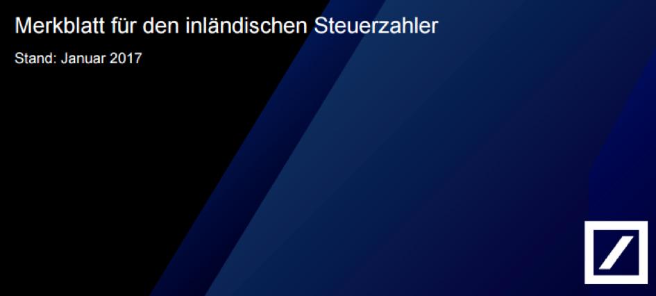 Deutsche Bank Merkblatt Abgeltungsteuer