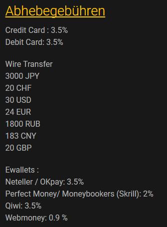 24Option Auszahlungsgebühren Tabelle