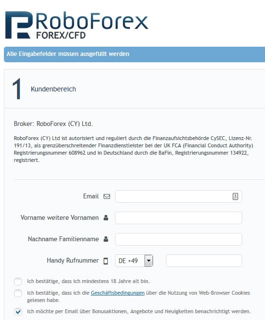 RoboForex: Kontoeröffnung über das Formular