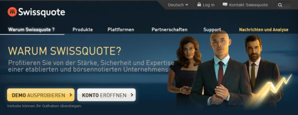 Swissquote Webauftritt