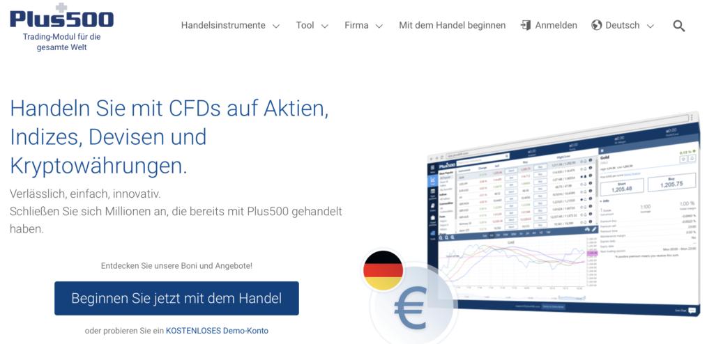 Plus500 - Handel mit Optionen als CFD ist möglich