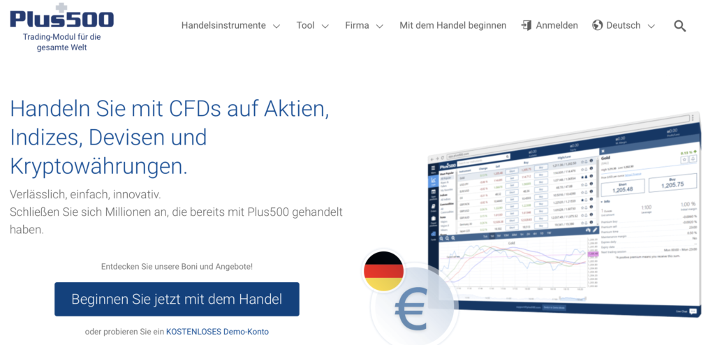 Plus500 CFD-Broker Webseite