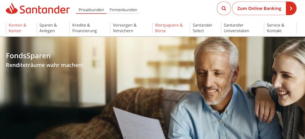 Santander Bank Fonds Sparplan