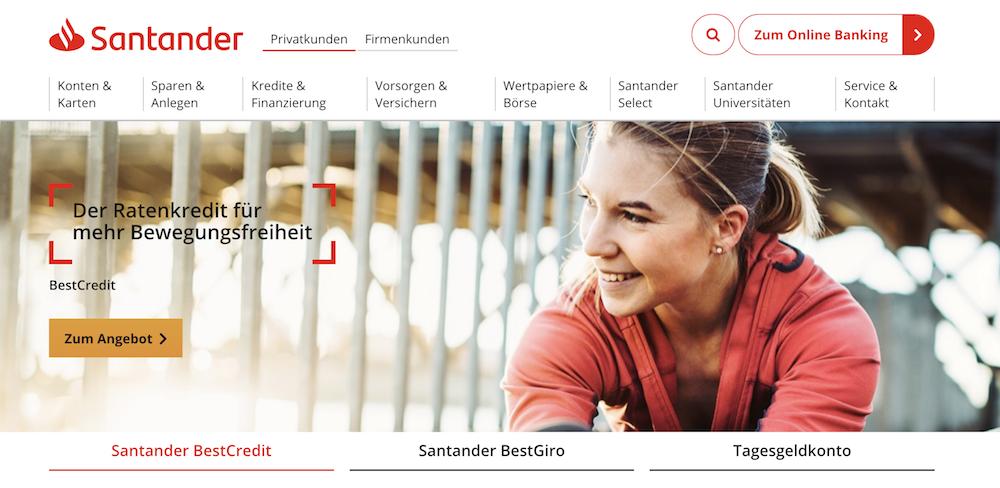 Santander Bank sina Produkt