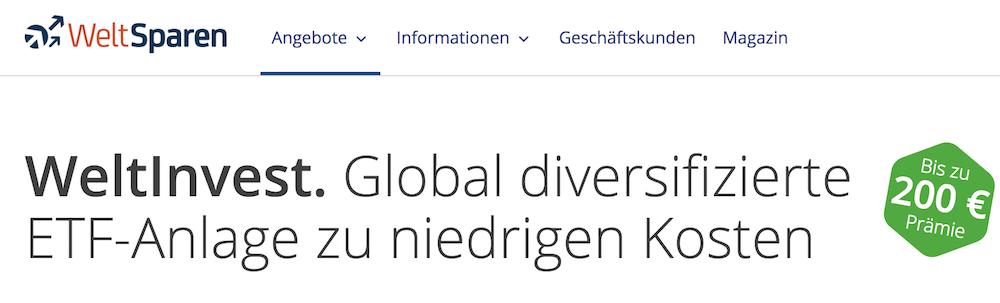 WeltSparen ETF-Anlage WeltInvest