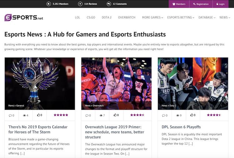 Esports.net Webseite