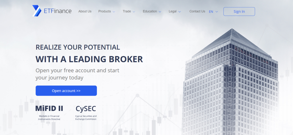 The website of ETFinance