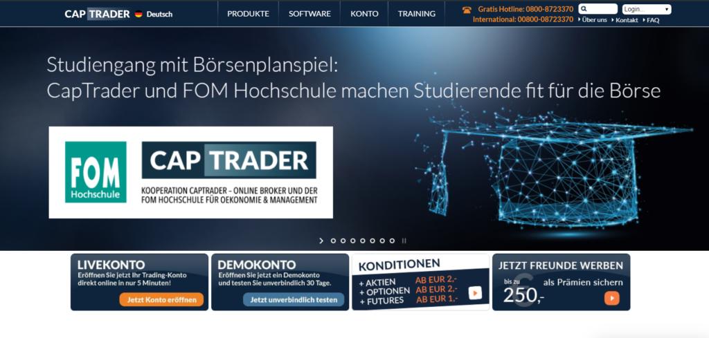 Das ist die Website von CapTrader
