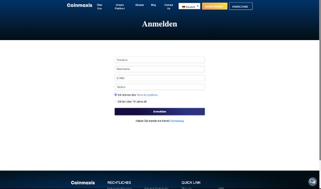 Coinmaxis Registrierungsformular