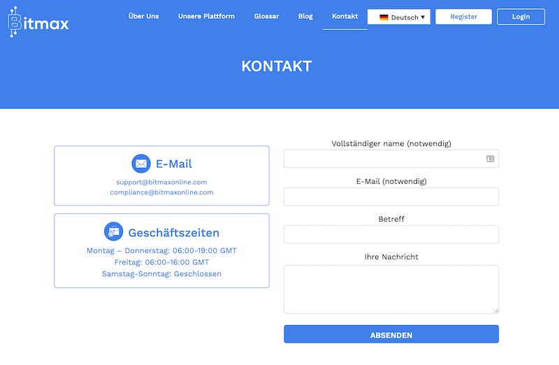 Das Kontaktformular auf der Webseite von Bitmax